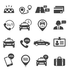 Taxi service black glyph icons set vector
