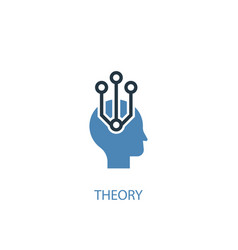 Theory concept 2 colored icon simple blue element vector