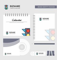 traffic signal logo calendar template cd cover vector image