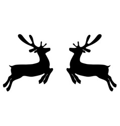 two reindeers on a white background jump to each vector image