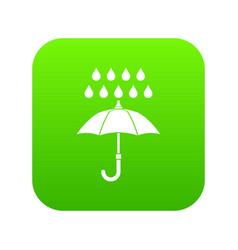 umbrella and rain icon digital green vector image