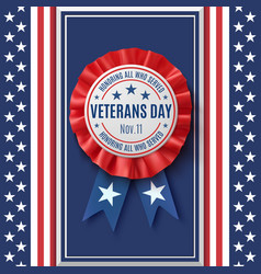 veterans day badge on abstract american background vector image