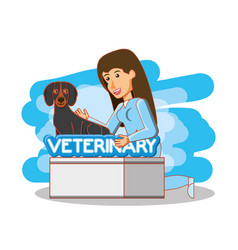 Veterinary in attention office vector
