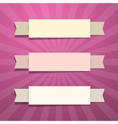Vintage Paper Labels on Retro Pink Background vector image