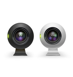 web cameras white and black realistic set vector image