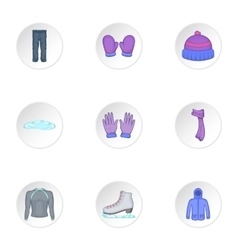Winter outfits icons set cartoon style vector image