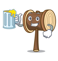 With juice mallet mascot cartoon style vector