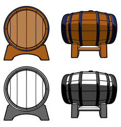 wooden barrel set color front side vector image