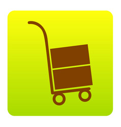 hand truck sign brown icon at green vector image