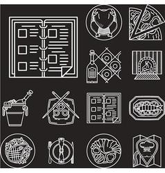 Restaurant menu white line icons vector image
