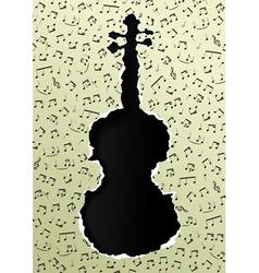 violin torn paper vector image vector image