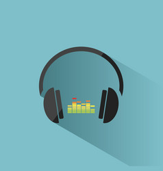 color headphones with music icon on blue vector image