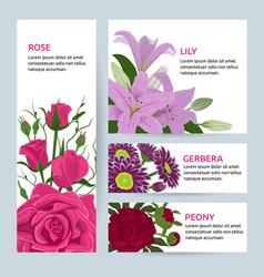 floral flower card invitation set greeting vector image vector image