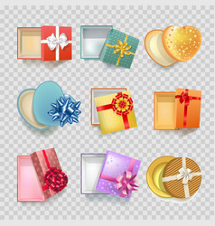 gift box with ribbon bow 3d icons set vector image vector image