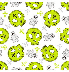 halloween seamless pattern with skulls and ghosts vector image