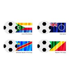 Soccer Ball of Comoros Cook Islands and Congo vector image