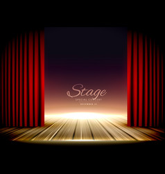 theater stage with red curtains and wooden floor vector image vector image