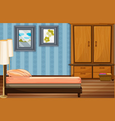 bedroom scene with bed and wooden closet vector image