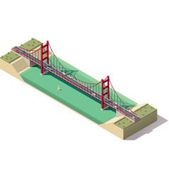 isometric suspension bridge vector image vector image