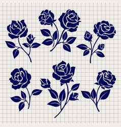 roses collection on notebook page vector image