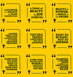 Set of motivational quotes about optimism beauty vector