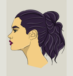 a woman with long dark blue hair in profile hair vector image vector image
