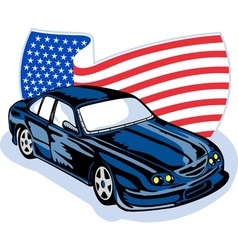 American ford GT muscle car with flag vector image