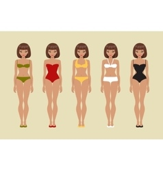 The girl in various swimsuits vector image