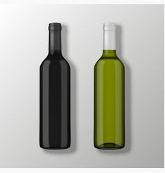 two realistic wine bottles in top view vector image vector image