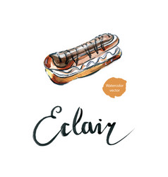 watercolor cake eclair vector image