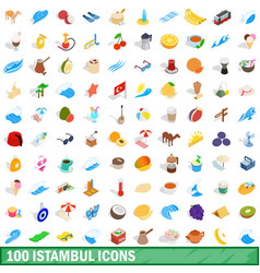 100 istambul icons set isometric 3d style vector