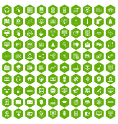 100 on-line seminar icons hexagon green vector