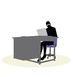 a business woman sitting at a desk vector image