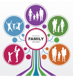 Abstract tree with family silhouettes vector image