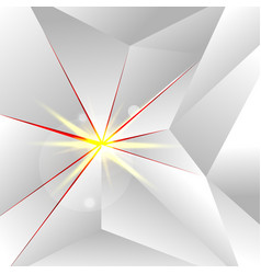 abstract white low polygon with lighting on red vector image