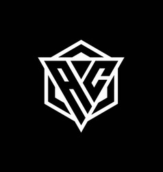 Ac logo monogram with triangle and hexagon shape vector