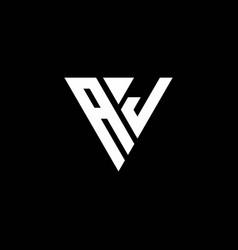 Aj logo letter monogram with triangle shape vector