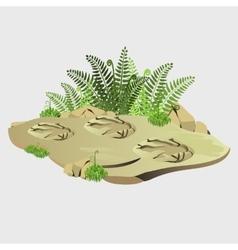 Ancient imprint wild animal on earth vector