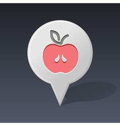 Apple pin map icon Fruit vector image