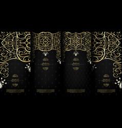 Arabesque abstract islamic element classy black vector