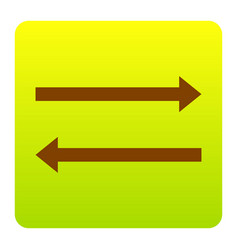 arrow simple sign brown icon at green vector image