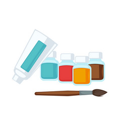 Artist stationery paints and paint brush vector