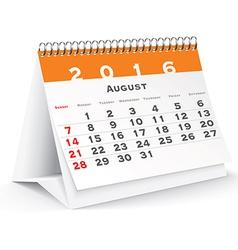 August 2016 desk calendar vector