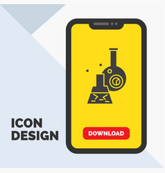 beaker lab test tube scientific glyph icon in vector image
