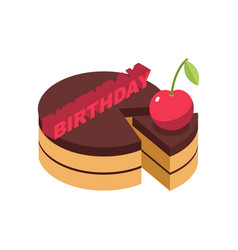 birthday cake cherry isolated cherries pie on vector image