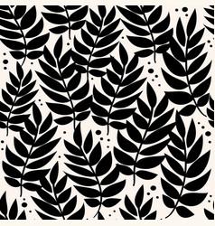black leaves geometric pattern background vector image