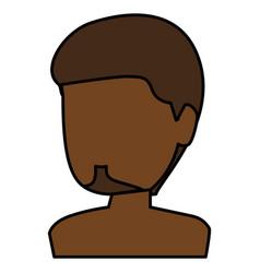 black young man shirtless avatar character vector image
