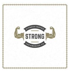 Bodybuilder hands logo or badge vector