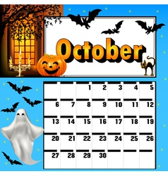 calendar for October bats and pumpkin vector image
