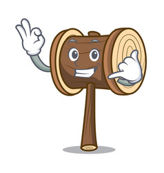 Call me mallet mascot cartoon style vector